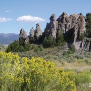 Pinnacles eroded from Tertiary-age lava flow breccia along State Route 20, Garfield County.