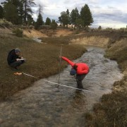 Measuring stream flow near Bryce Canyon National Park, Garfield County, Utah