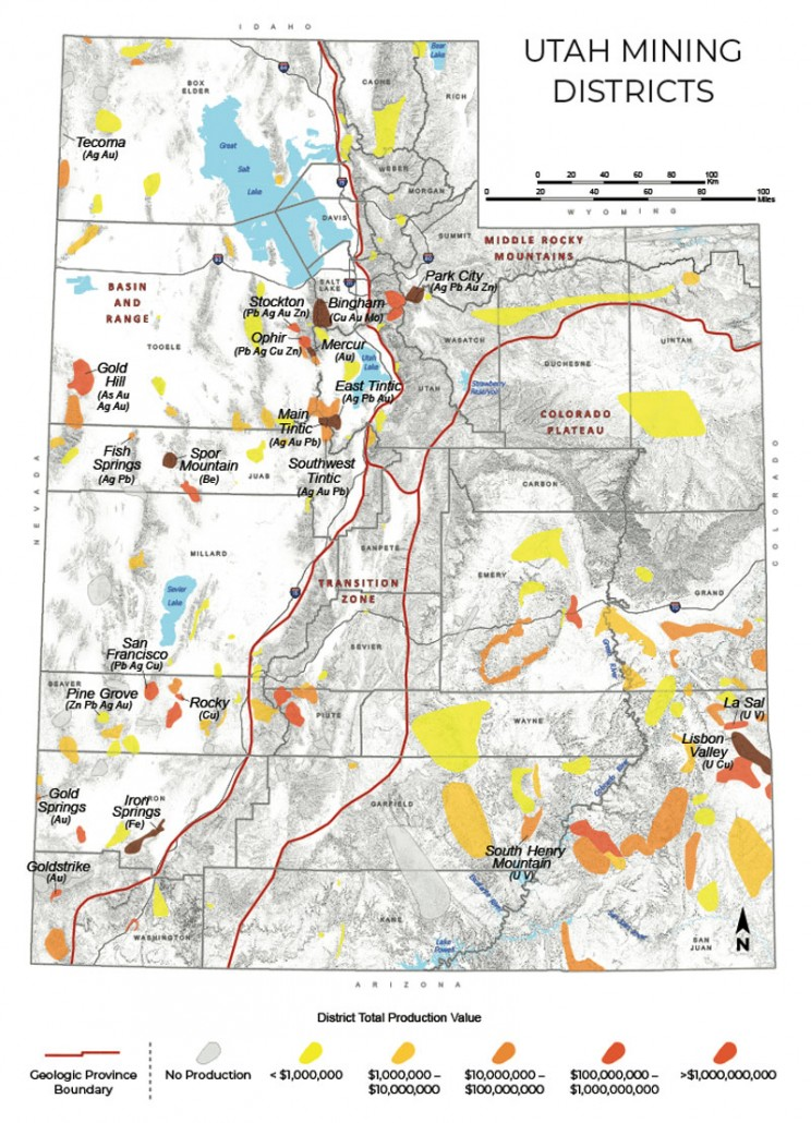 Utah Mining Districts Map Image, versioned from UGS publication OFR-695.