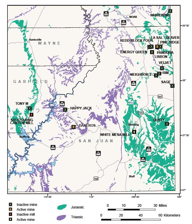 Location and status of uranium mines and mills in Utah. Most uranium produced in Utah is from Mesozoic Jurassic (green) and Triassic (purple) sandstone and conglomerate.
