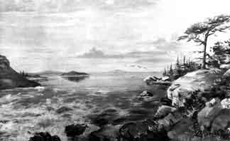 Artist L.A. Ramsey's interpretation of Lake Bonneville flooding through Red Rock Pass approximately 16,800 years ago.
