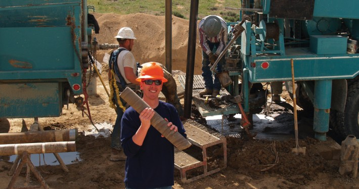 "UGS geologist Andrew Rupke ""catching"" core as it is brought to the surface."