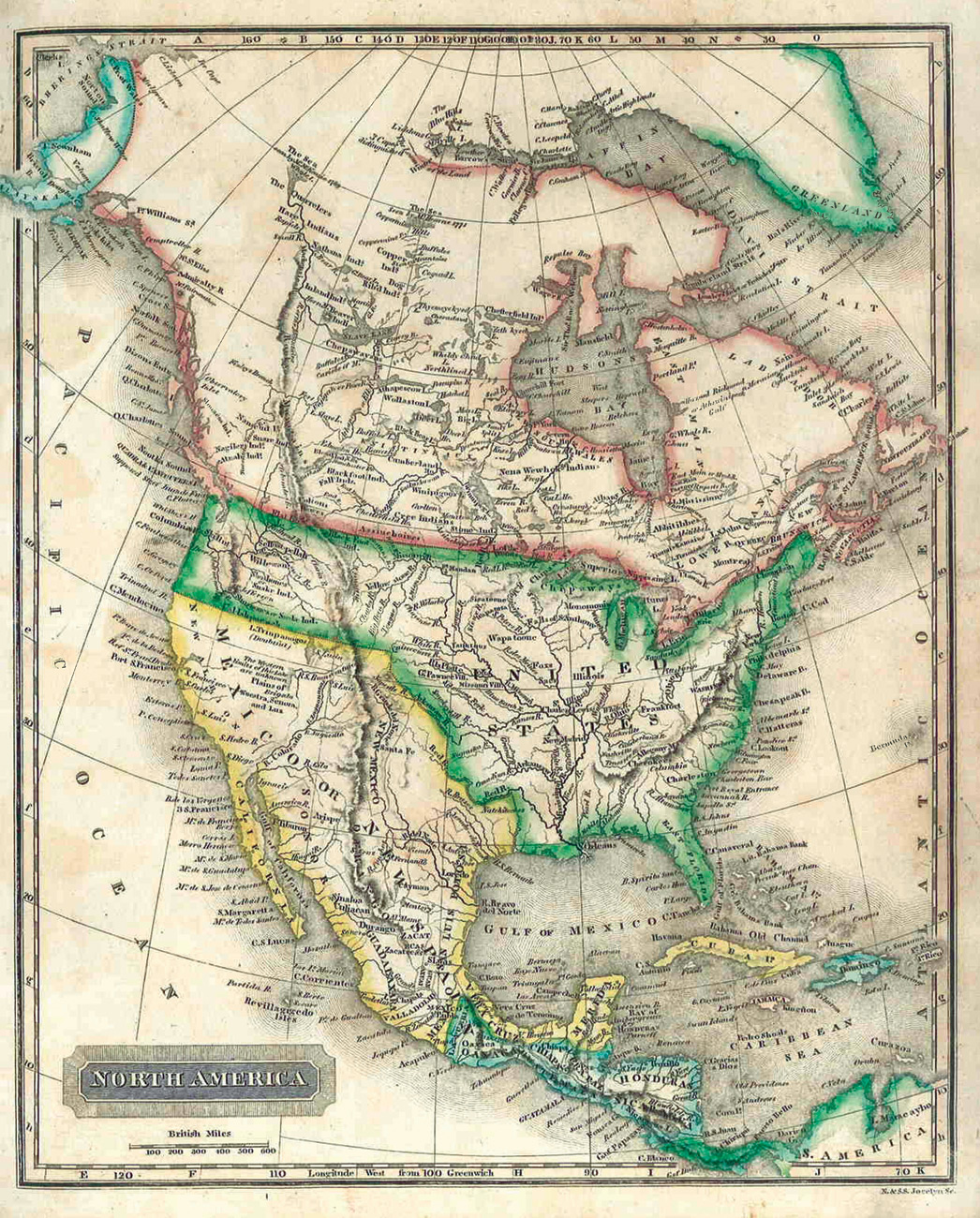 North American map showing California as part of Mexico, and the United Provinces of Central America (Costa Rica, Guatemala, Honduras, Nicaragua, and San Salvador), which had recently gained independence from Mexico.