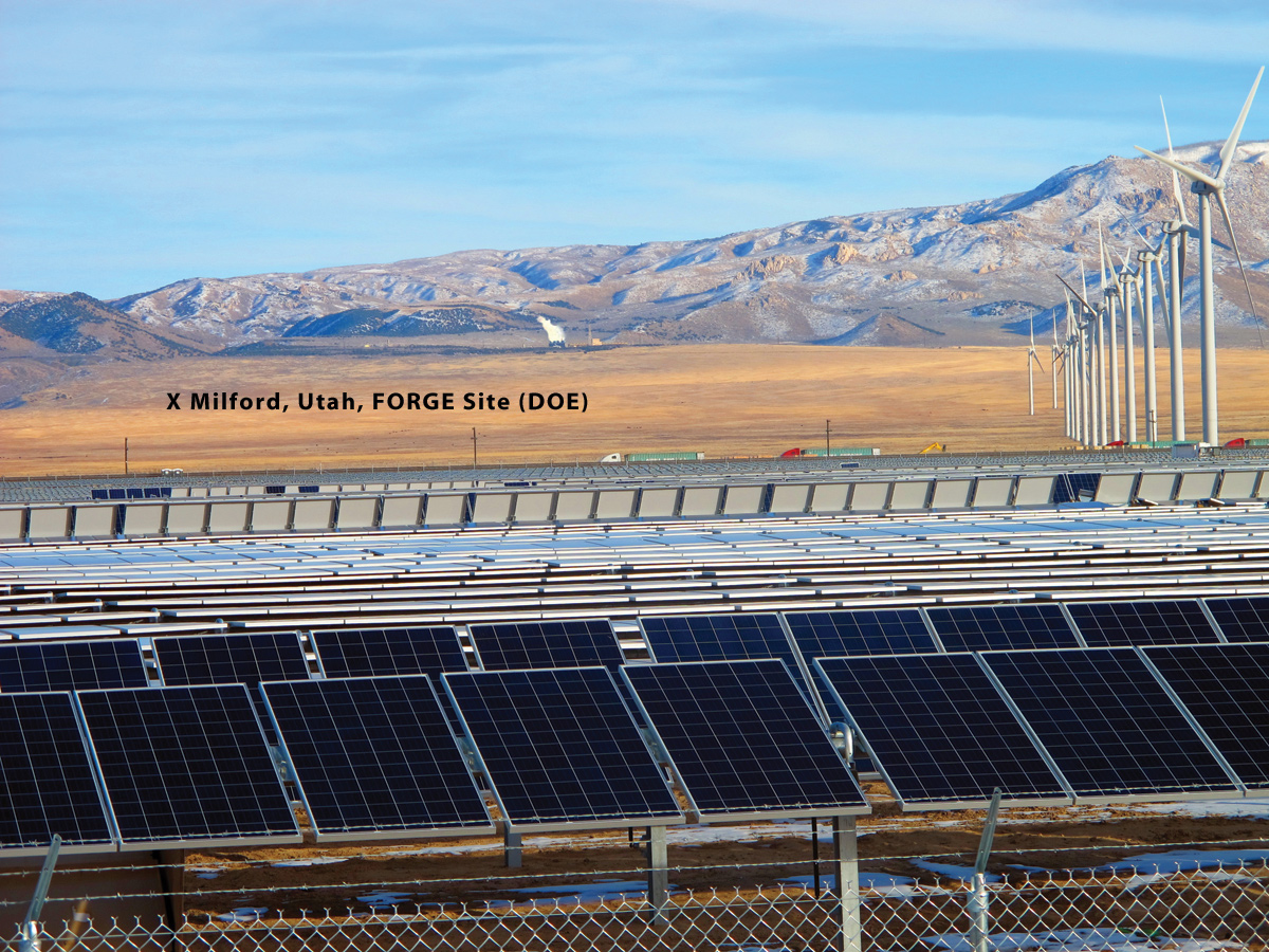 The FORGE site is in a renewable energy hub. This view shows the SunEdison photovoltaic array under construction in the foreground, a FirstWind turbine array in the middle distance, and PacifiCorp's Blundell geothermal power plant in front of the Mineral Mountains in the far distance. Photo by Mark Milligan.