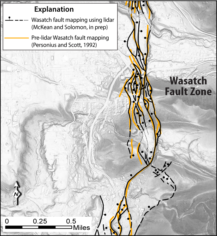 Comparison of mapping done with lidar (black lines) and without lidar (yellow lines). Airborne data for mapping the Wasatch fault zone at the mouth of Little Cottonwood Canyon, Utah.