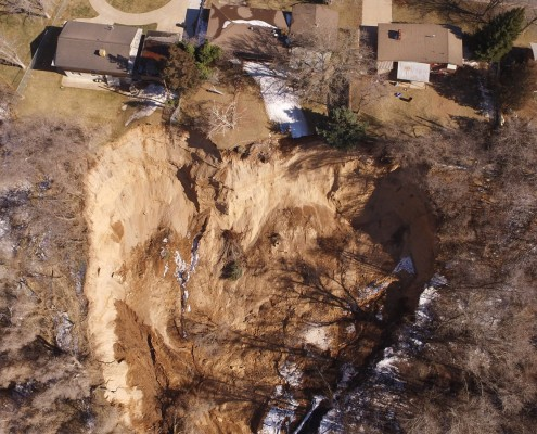 Aerial image of the landslide taken by Davis County Sheriff's drone. Photo date March 6, 2018.