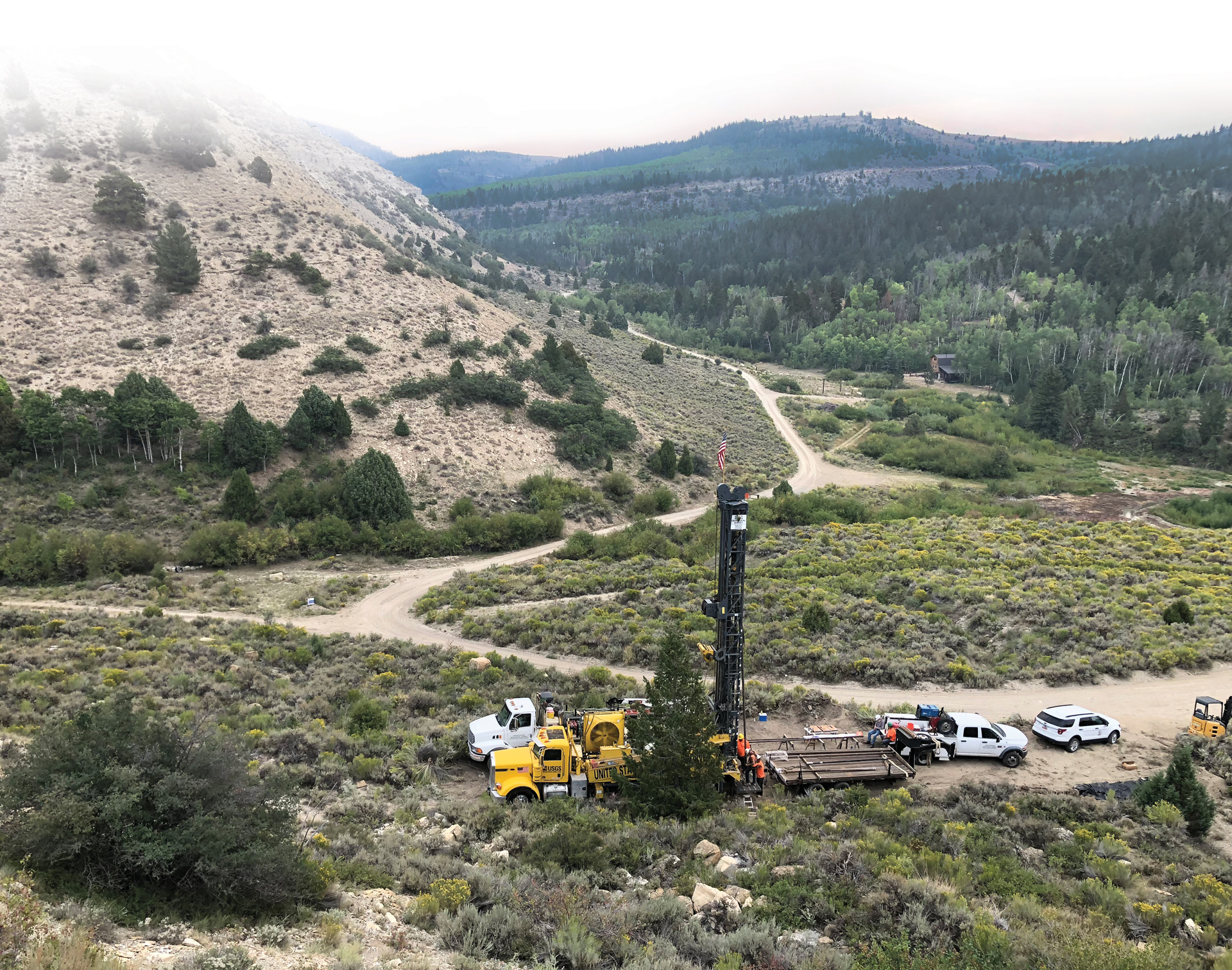 Willow Creek No. 1 field site (view to the east) with wireline coring rig in Willow Creek Canyon.